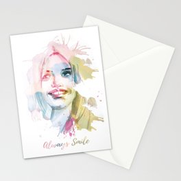 Always smile! Hand-painted portrait of a woman in watercolor. Stationery Cards