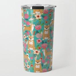 Shiba Inu floral dog breed pet art must have gifts pure bred shiba inus doggo Travel Mug
