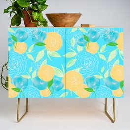 06 Yellow Blooms on Blue Credenza