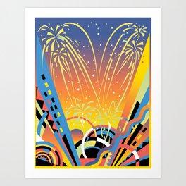 Geometric Fireworks Art Print