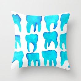 Turquoise Molars Throw Pillow