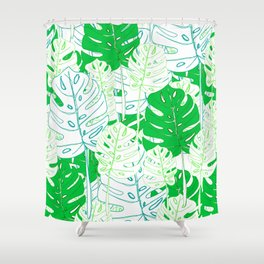 Banana Leaf in Teal Shower Curtain