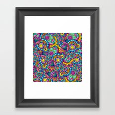 Modern hand drawn mandala floral bright watercolor Framed Art Print