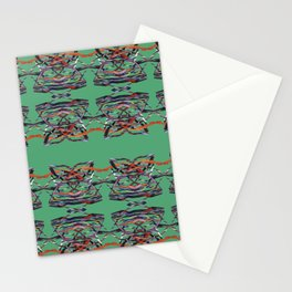 Tiger Heads Pattern Green Stationery Cards
