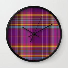 wine harmony plaid Wall Clock
