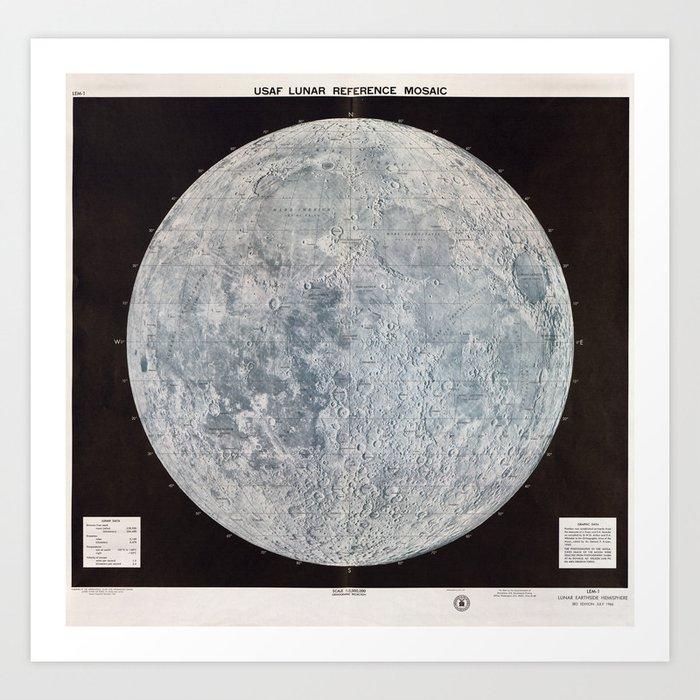 Vintage Lunar Moon Map, 1960s Kunstdrucke