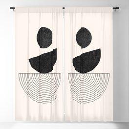 Black and White Boho Geometric Shapes - Mid-century Abstract Art, Modern Line Art Blackout Curtain