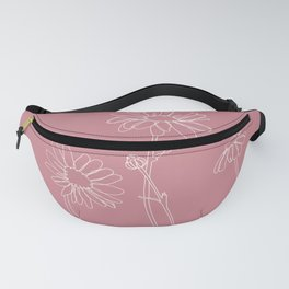 Daisies pink line drawing - Ellie Fanny Pack