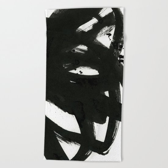 black on white 1 Beach Towel
