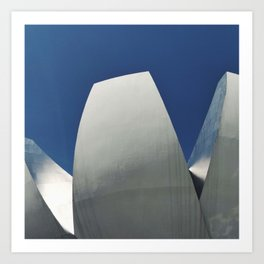 Silver, White & Blue in Singapore's Modern Architectural Shapes Art Print