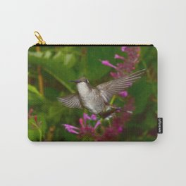 Hummingbird and pink agastache flower 44 Carry-All Pouch