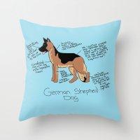 german shepherd Throw Pillows featuring German Shepherd by Lindsay Beth