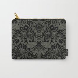 Stegosaurus Lace - Black / Grey - Carry-All Pouch