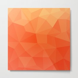 Abstract Geometric Gradient Pattern between Pure Red and very light Orange Metal Print