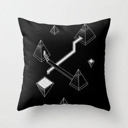 Black Space Pyramids Throw Pillow