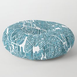 Brussels City Map I Floor Pillow