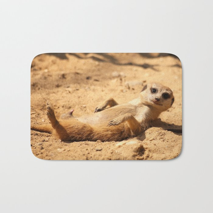 Meerkat Suricat suricatta Sunbathing #decor #society6 Bath Mat