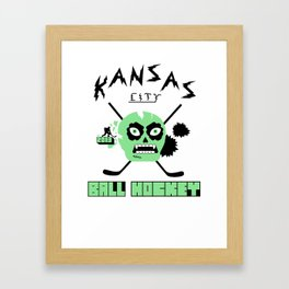 Kansas City Ball Hockey Thrashed Skull [Orange] Framed Art Print
