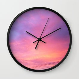 SUNSET AND POWERLINES Wall Clock