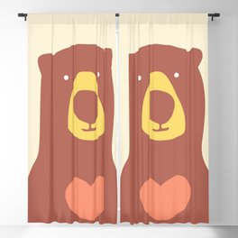 Bear with a heart pink overlay Blackout Curtain