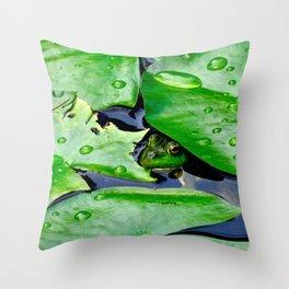 Peek  A Boo frog Throw Pillow