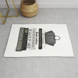 Fashion books, fashion illustration, grey, Black and white, Bag, Hand bag, Style, Art of fashion Rug