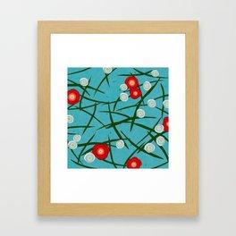 Japenese Water Flowers Pattern Framed Art Print