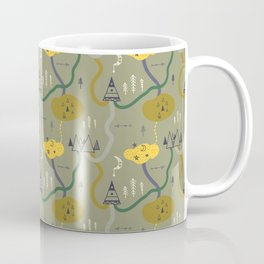 Tiny Tribes, ethnical doodles on green background Coffee Mug