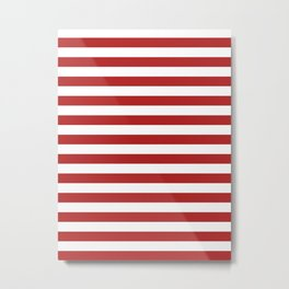 Narrow Horizontal Stripes - White and Firebrick Red Metal Print