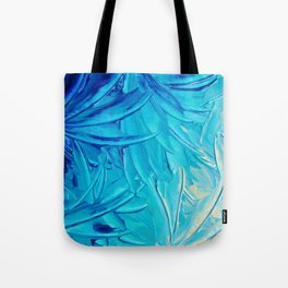WATER FLOWERS - Beautiful Water Ocean Theme Shades Blue Floral Modern Design Abstract Painting Tote Bag