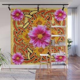 Celtic Design Yellow Art Purple Dahlias Design Pattern Wall Mural