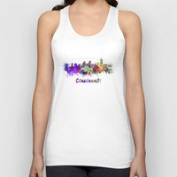cincinnati Tank Tops featuring Cincinnati skyline in watercolor by Paulrommer