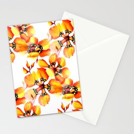 Watercolor Sparaxis Elegans South African Floral Pattern Stationery Cards