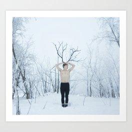 Snow Deer Boy Art Print