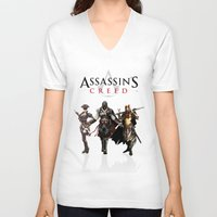 assassins creed V-neck T-shirts featuring Assassins Creed Attack by bivisual