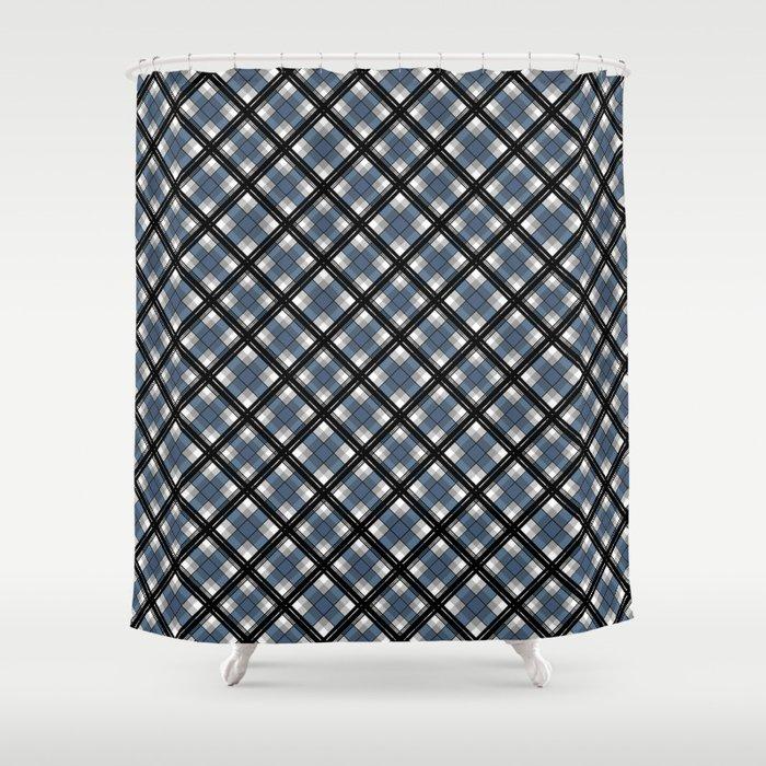 Black And Blue Tartan Shower Curtain
