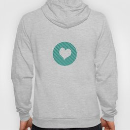Striped heart Turquoise   Hoody