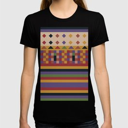 Stripes and squares ethnic pattern T-shirt