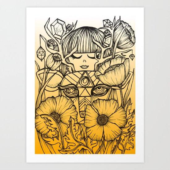 Charmed Life - Deer Girl Poppies - Orange Ombre Art Print