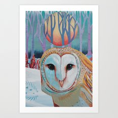 Owl Be Right Back Art Print