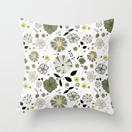 Grey floral with yellow highlights Throw Pillow
