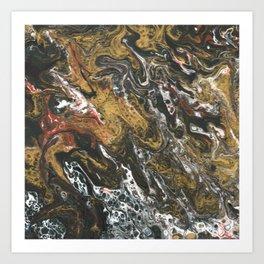 Golden Seas, abstract poured acrylic Art Print