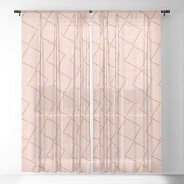 Tilting Diamonds in Peach Sheer Curtain