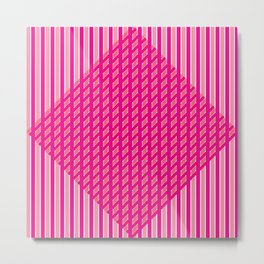 Criss-Cross Pink Diamonds Metal Print