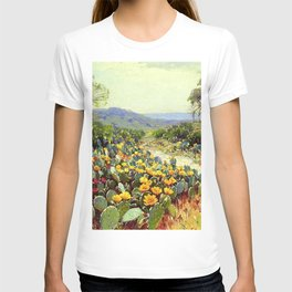Yellow and Red Cactus Blossoms in the Desert Landscape painting by Robert Julian Onderdonk T-shirt