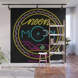 Neon Moon Studios Logo - Square on Black Wall Mural