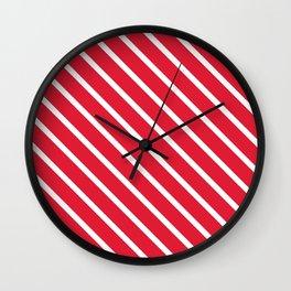 Raspberry Diagonal Stripes Wall Clock