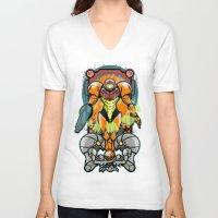 samus V-neck T-shirts featuring Samus by Brandon C. Bader