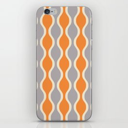 Classic Retro Ogee Pattern 852 Orange and Gray iPhone Skin