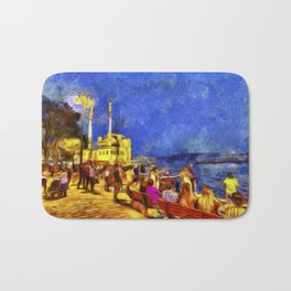 Istanbul At Night Van Gogh Bath Mat